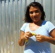 Trauben und Banane zertreten