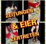 Crushing von Eier und Zeitungen in Roten Heels