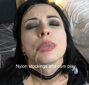 Nylon stockings and cum play Full HD