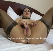 Nylon kink and layered stockings Full HD