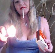 Match Lighting Red lips smoking fetish
