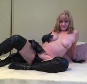 Black sultry leather worship