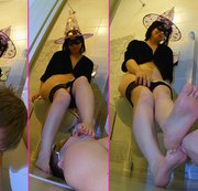 Toilet witch feet licking