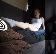 Kira. Socken ins Gesicht und Schwanz in der Hose rubbeln. Im Casting Bus. Teil 2 von 3