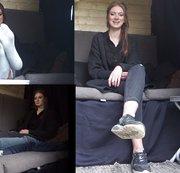 Emily. Casting Bus. Interview. Schuhe Socken und Füße. Teil 1 von 2.