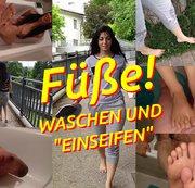 Füße nach Barfuß-Spaziergang abgeschrubbt!
