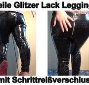 Geile Glitzer Lack Leggings mit Schrittreißverschluss