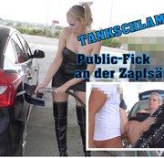 Strassen-Tank-Schlampe. Public-Fick an der Zapfsäule.