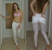 Weiße Jeans mit Natursekt veredelt