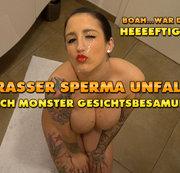 Krasser Sperma Unfall ! Unglaubliche Monster Gesichtsbesamung !!!