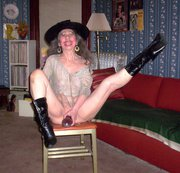 Cowgirl Riding A Stand Up Dildo