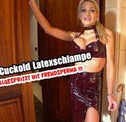 Cuckhold-Latexschlampe : Vollgespritzt mit Fremdsperma !!!