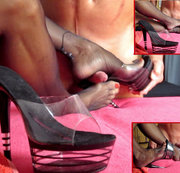 Shoejob in Nylons + transparenten Pumps