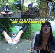 Flashing und Sperma Walk auf einem Parkplatz