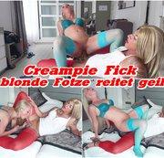 Creampie Fick - blonde Fotze reitet geil
