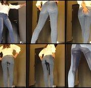 eingepisste Jeans